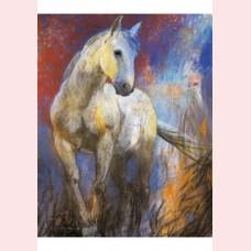 Wit paard in blauw